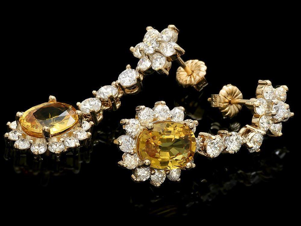 14k Gold 4ct Sapphire 3.00ct Diamond Earrings