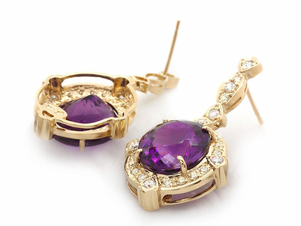 14k Gold 16ct Amethyst 1.40ct Diamond Earrings