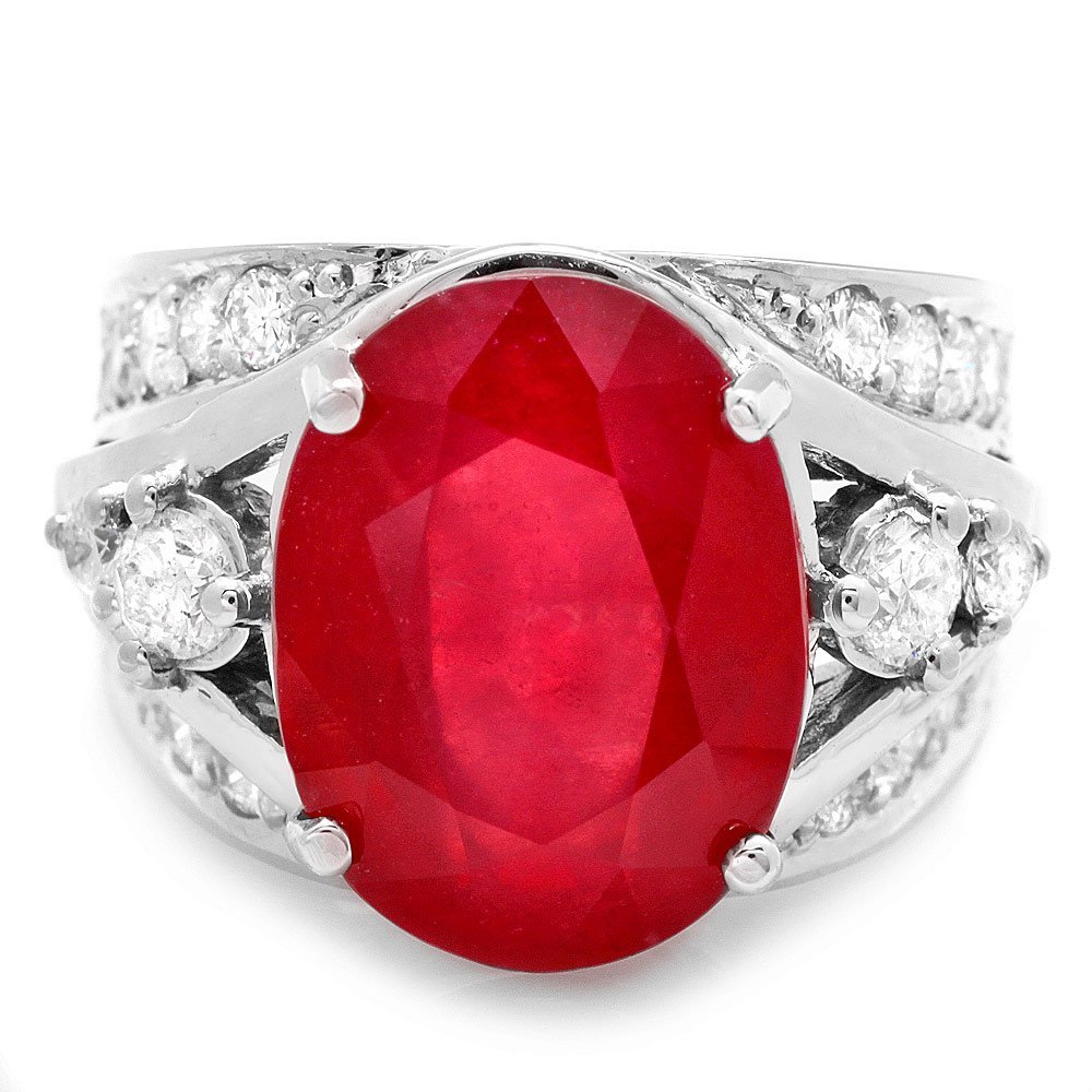 14k White Gold 12.55ct Ruby 1.20ct Diamond Ring