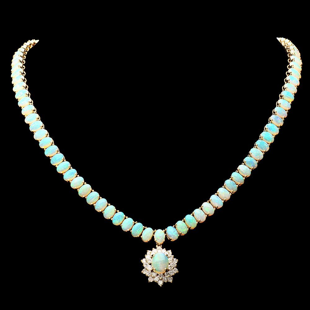 14k Yellow Gold 25ct Opal 1.50ct Diamond Necklace