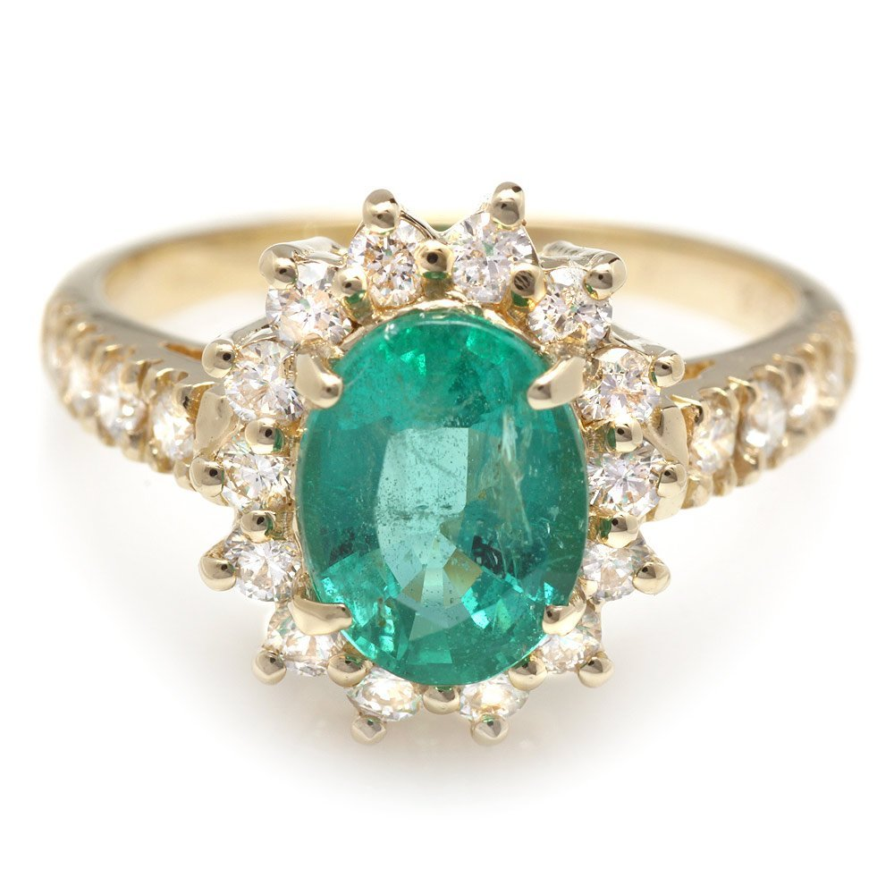 14k Gold 1.70ct Emerald 0.75ct Diamond Ring