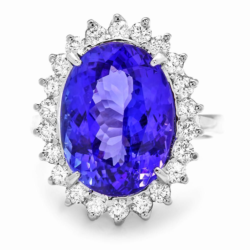 14k Gold 10.00ct Tanzanite 0.90ct Diamond Ring