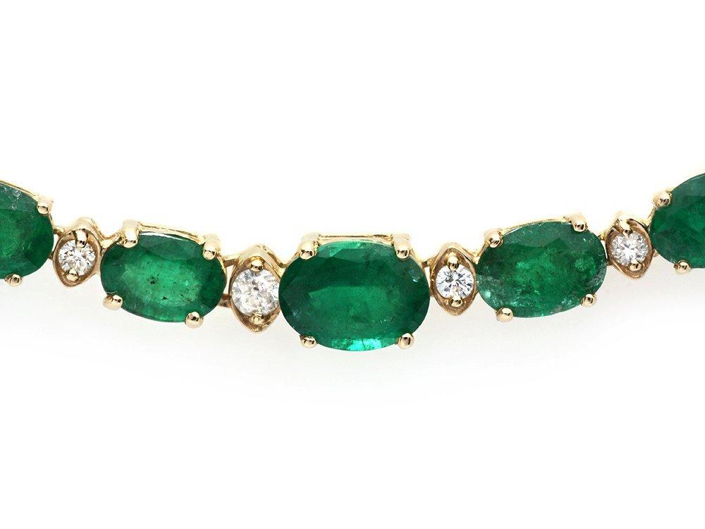 14k Gold 23ct Emerald 1.10ct Diamond Necklace