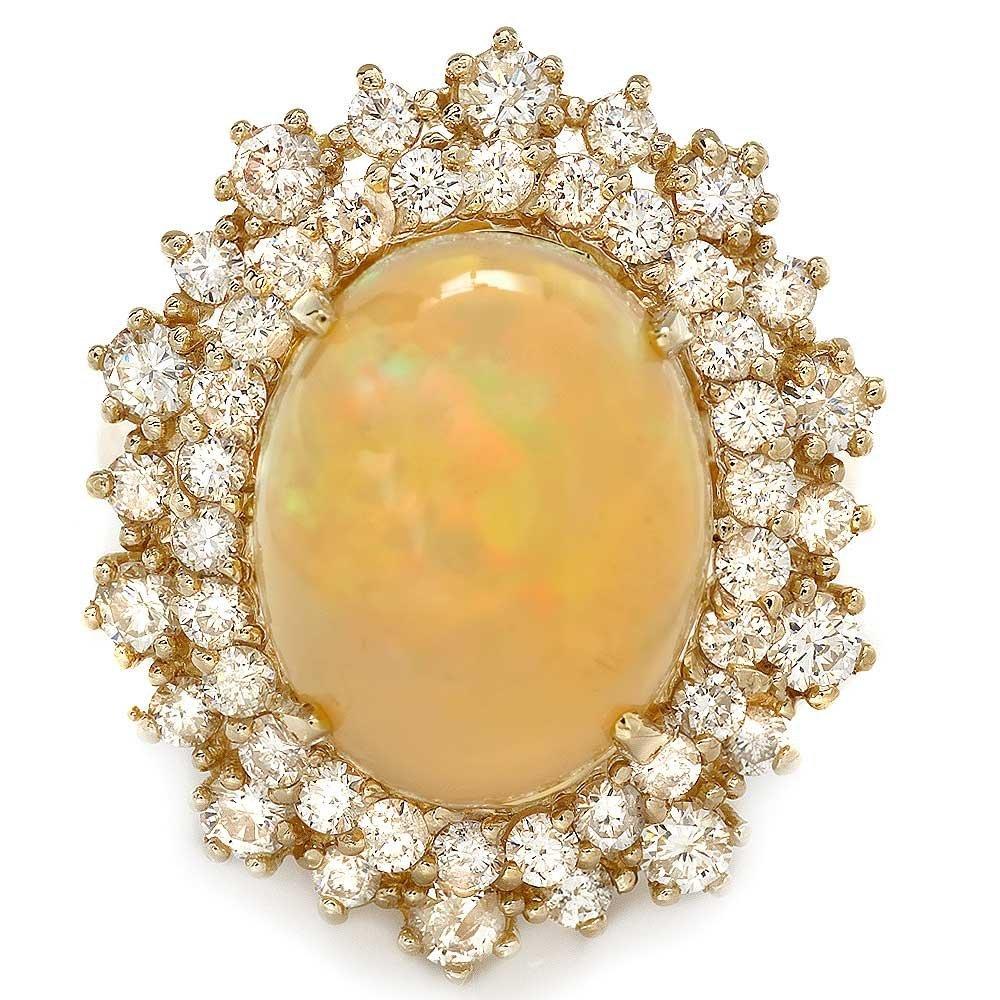 14k Yellow Gold 5.00ct Opal 1.42ct Diamond Ring