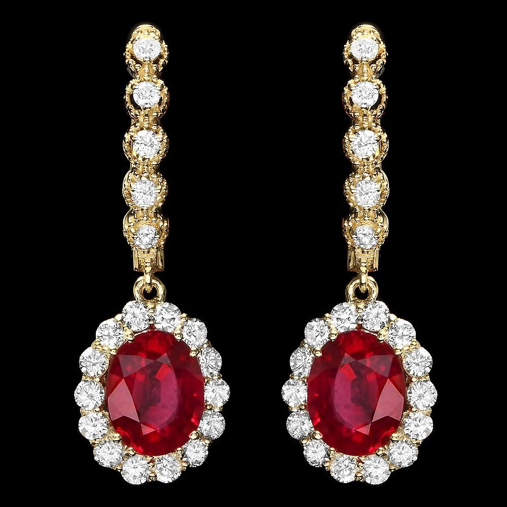 14k Gold 5.00ct Ruby 1.30ct Diamond Earrings