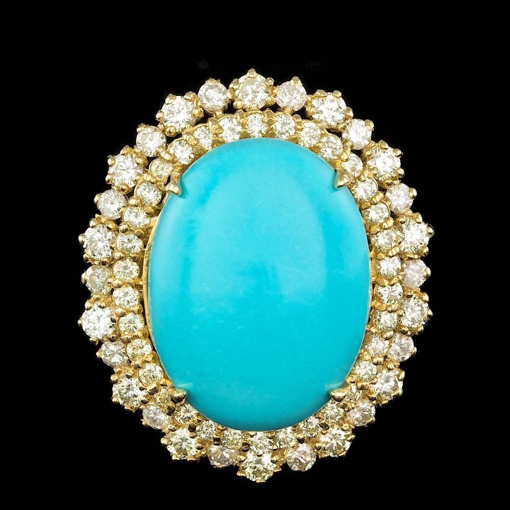14k Gold 12.00ct Turquoise 2.05ct Diamond Ring