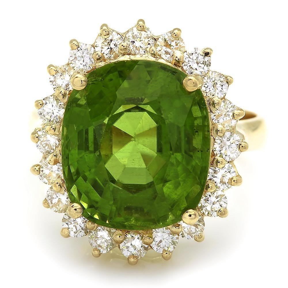 14k Gold 9.00ct Peridot 1.00ct Diamond Ring