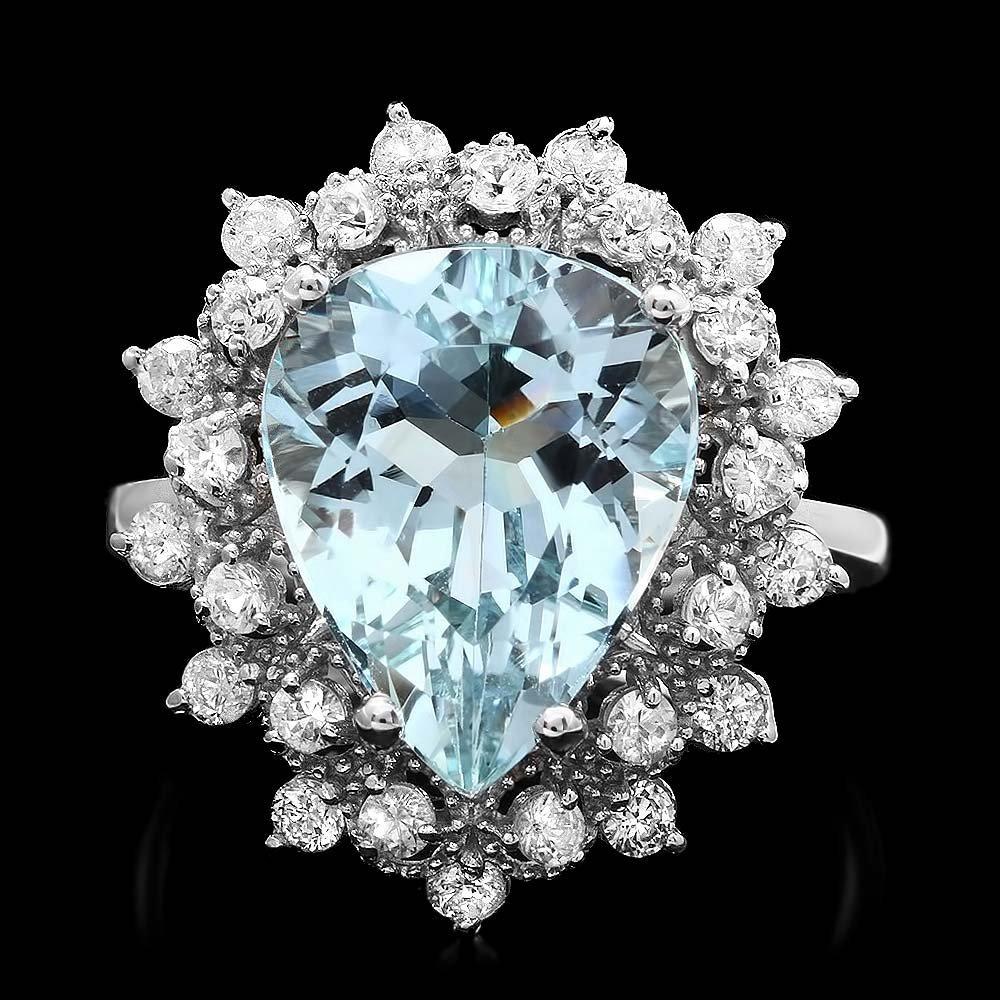 14k Gold 5.00ct Aquamarine 0.80ct Diamond Ring