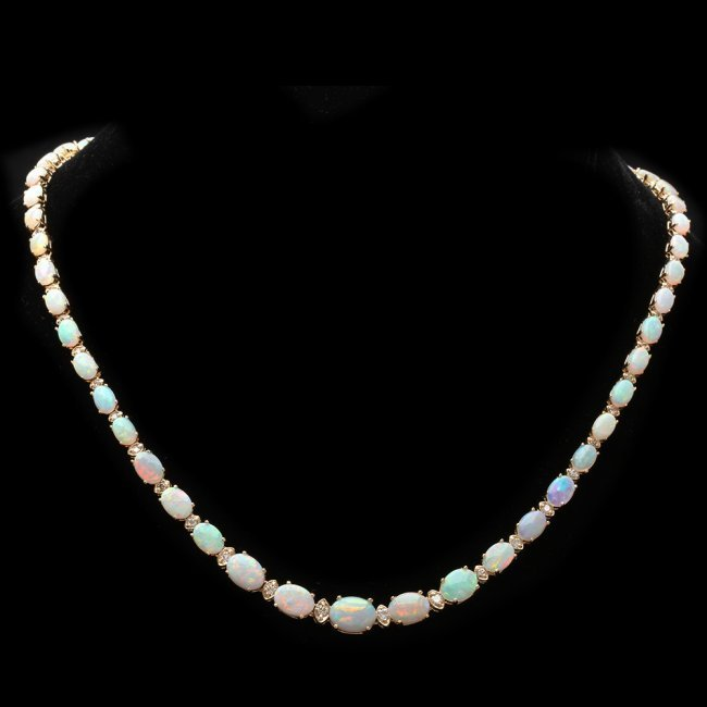 14k Gold 18.00ct Opal 1.15ct Diamond Necklace