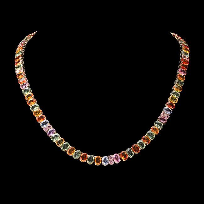 14k Yellow Gold 63ct Sapphire Necklace