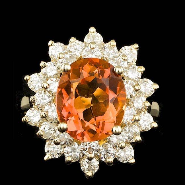 14k Gold 3.50ct Citrine 1.90ct Diamond Ring