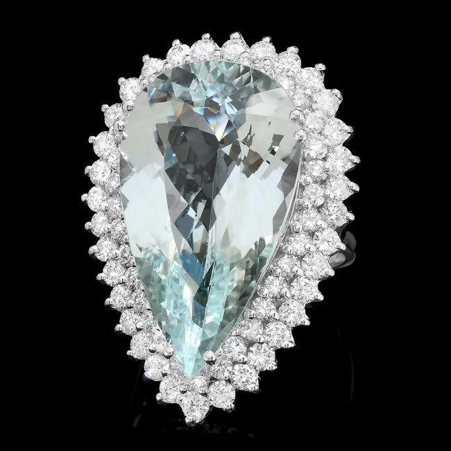14k Gold 20.00ct Aquamarine 3.00ct Diamond Ring