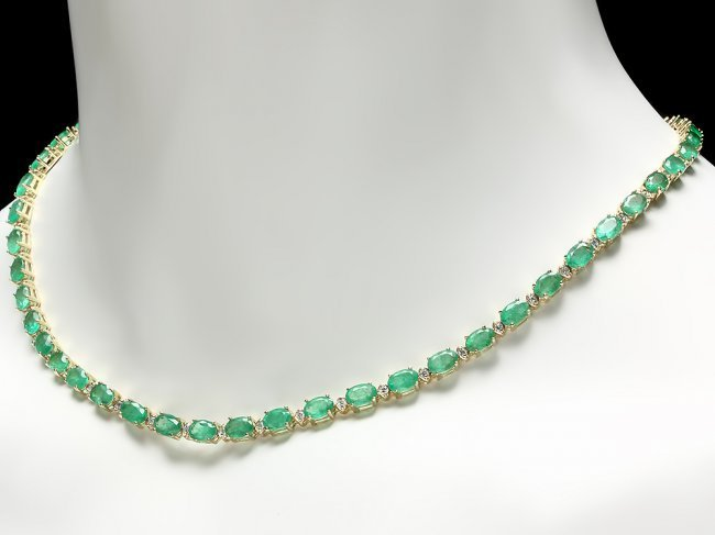 14k Gold 18.00ct Emerald 1.00ct Diamond Necklace