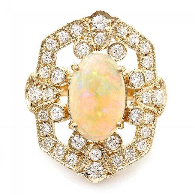14k Yellow Gold 2.50ct Opal 1.25ct Diamond Ring