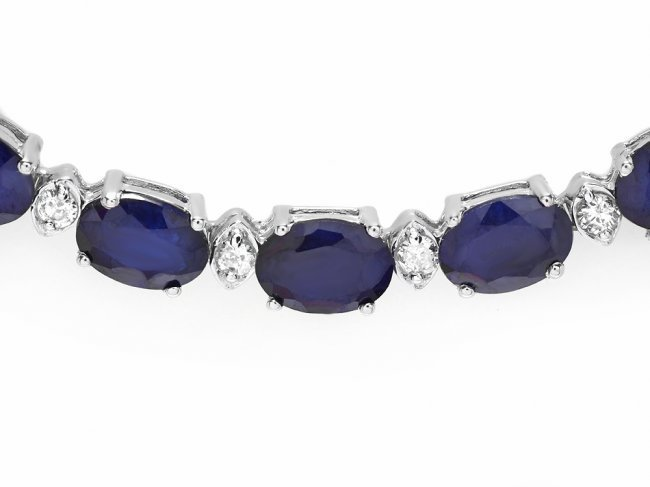 14k Gold 40ct Sapphire 2.00ct Diamond Necklace