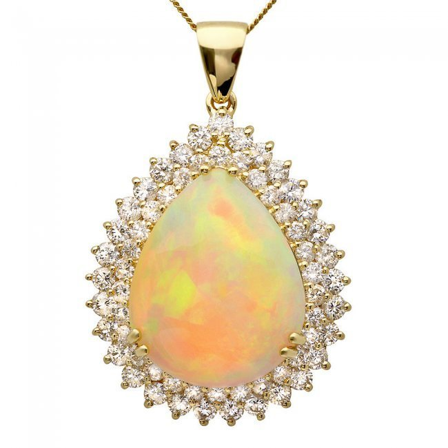 14k Gold 16.00ct Opal 3.50ct Diamond Pendant
