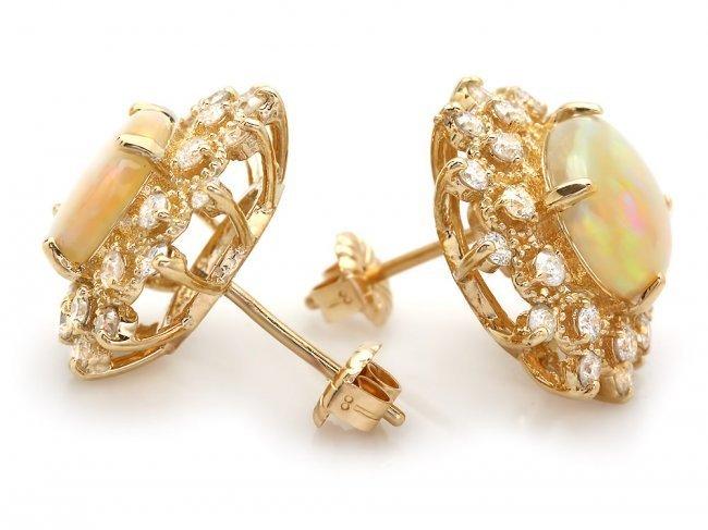 14k Gold 4.00ct Opal 1.30ct Diamond Earrings