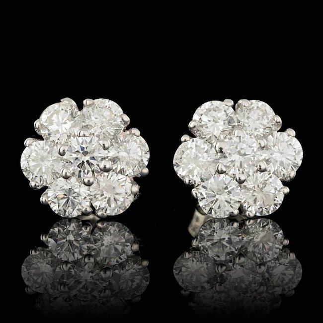 14k White Gold 2.50ct Diamond Earrings