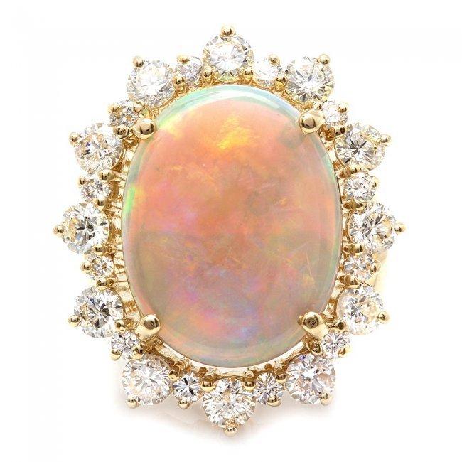 14k Yellow Gold 6.00ct Opal 2.30ct Diamond Ring