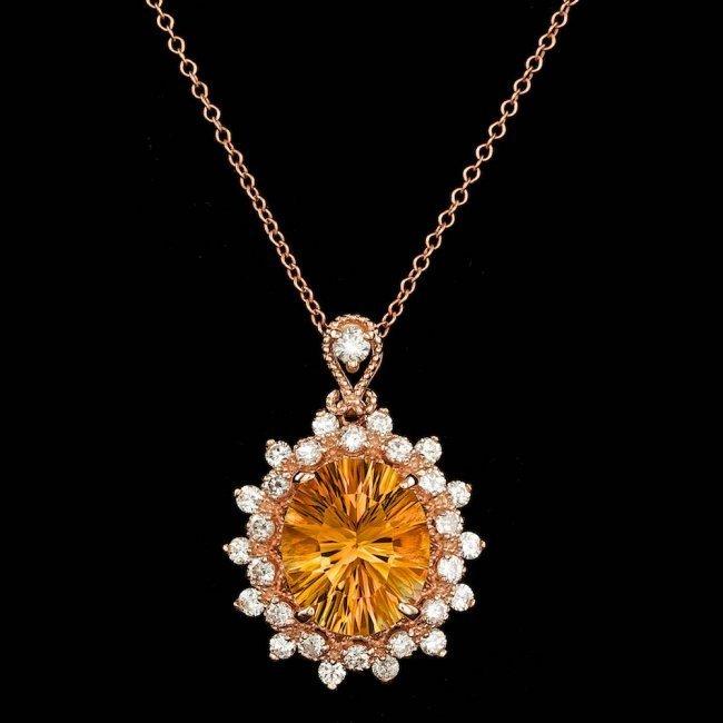 14k Gold 4.00ct Citrine 0.80ct Diamond Pendant