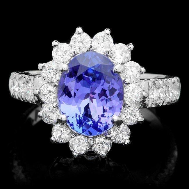 14k Gold 2.00ct Tanzanite 1.25ct Diamond Ring