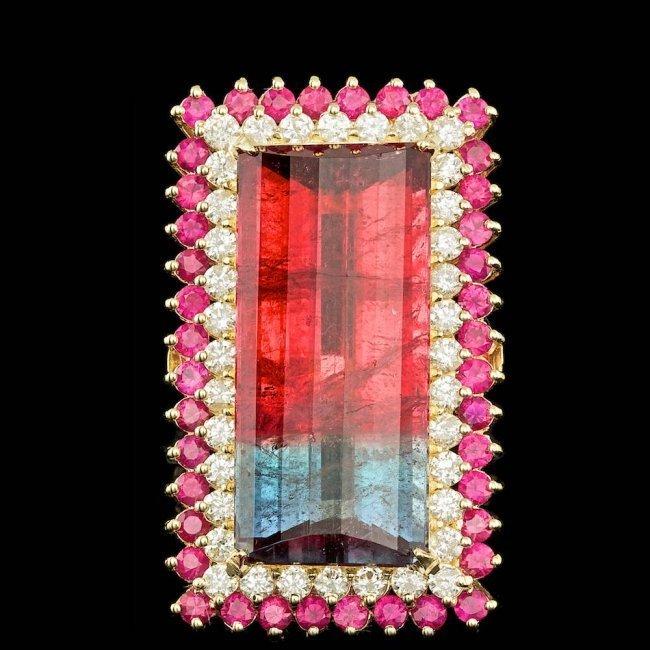 14k Gold 39.50ct Tourmaline 2.20ct Diamond Ring