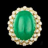 14k Yellow Gold 1350ct Jade 130ct Diamond Ring