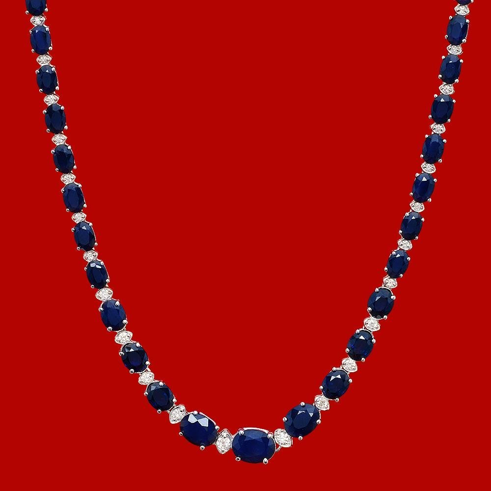 14k Gold 30.19ct Sapphire 1.25ct Diamond Necklace