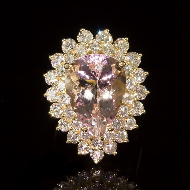 14K Gold 6.88ct Morganite 2.67ct Diamond Ring
