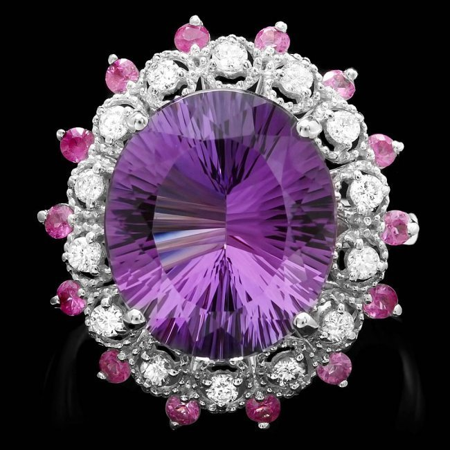 14k Gold 6.50ct Amethyst 0.35ct Diamond Ring