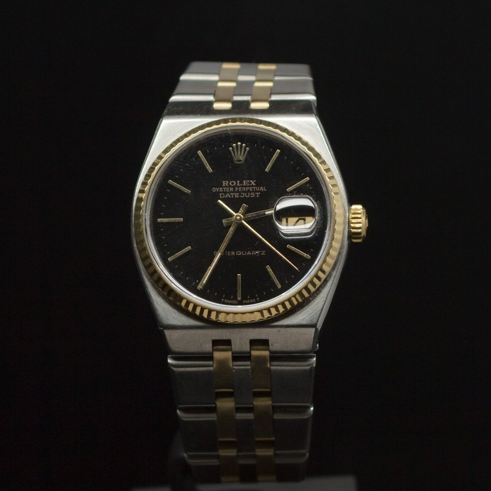 Rolex Two-Tone Datejust Quartz Vintage 36mm Black Index