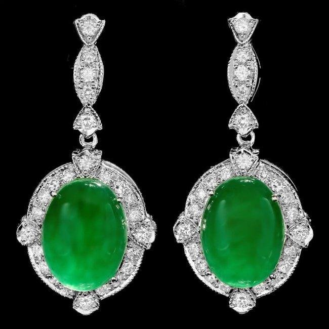 14k Gold 13.00ct Jade 1.75ct Diamond Earrings