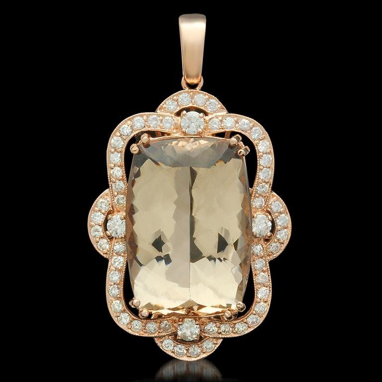 14K Gold 33.52ct Morganite 17.0ct Diamond Pendant