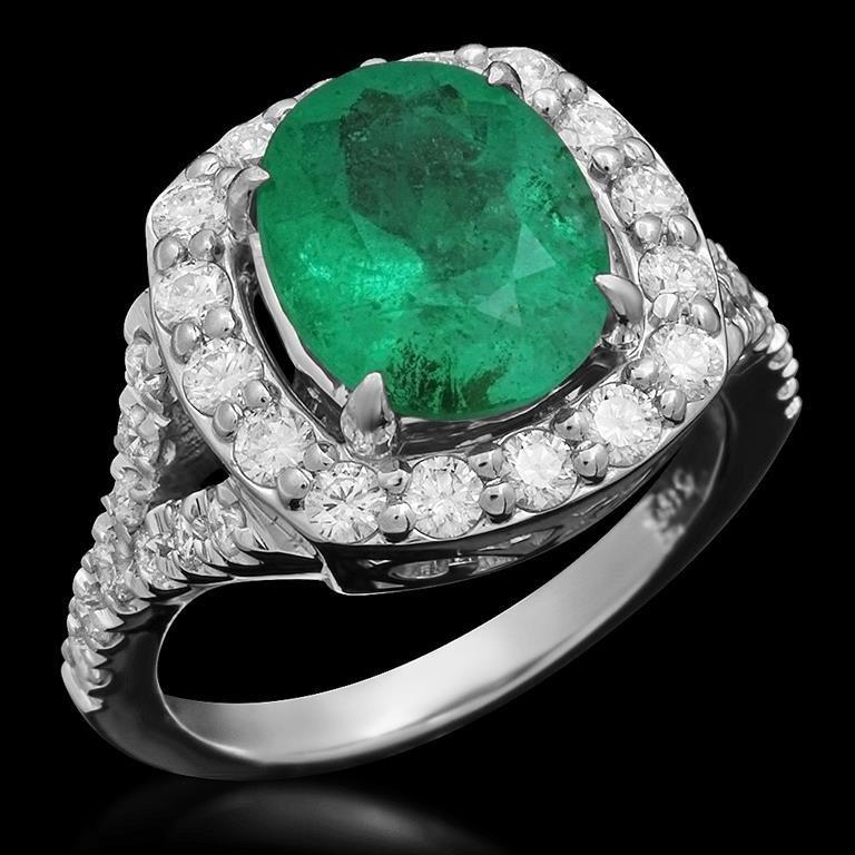 14K Gold 3.00ct Emerald 1.05ct Diamond Ring