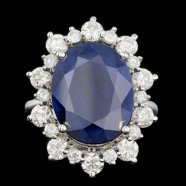 14k Gold 10.00ct Sapphire 1.80ct Diamond Ring