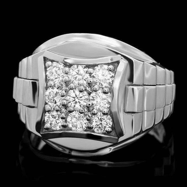 14k White Gold 1.15ct Diamond Mens Ring
