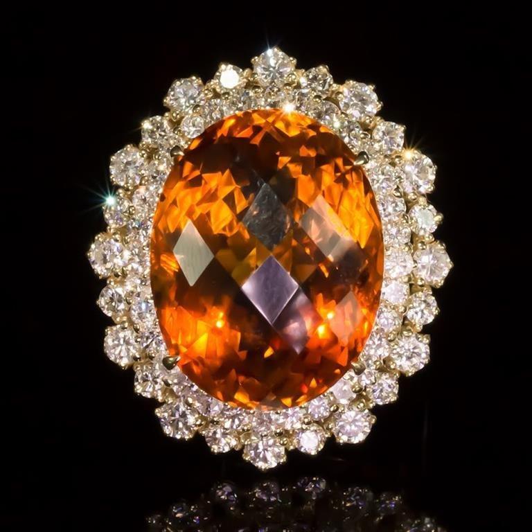 14K Gold 17.97ct Citrine 2.10ct Diamond Ring