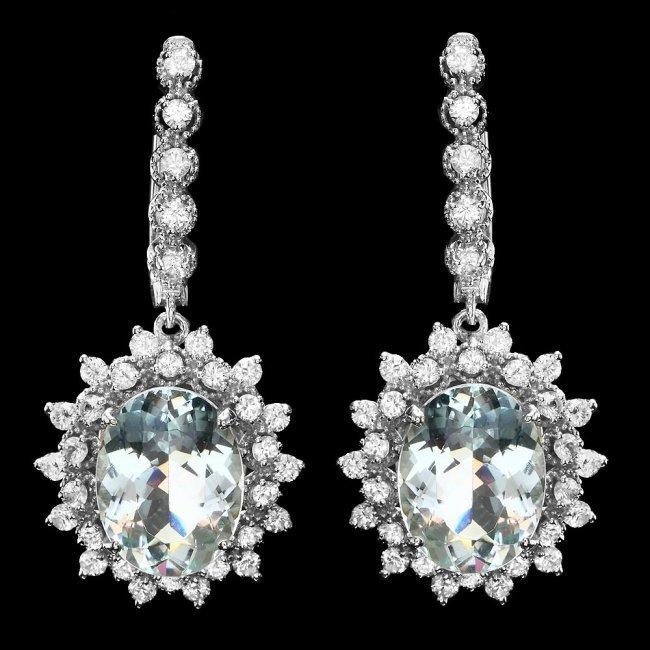 14k 8.50ct Aquamarine 2.00ct Diamond Earrings