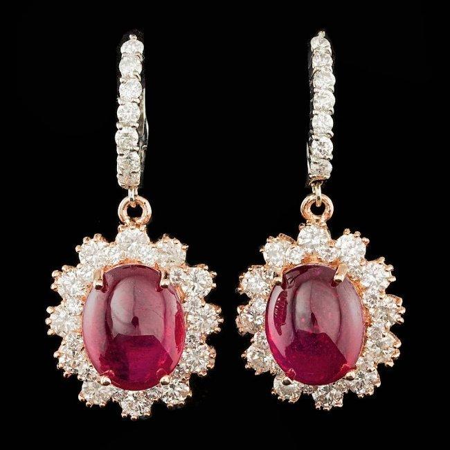 14k Gold 12.50ct Ruby 3.00ct Diamond Earrings