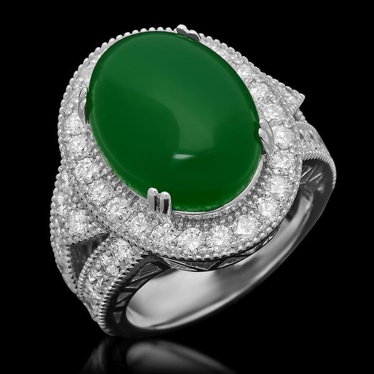 14K Gold 8.96ct Jadeite 2.00ct Diamond Ring