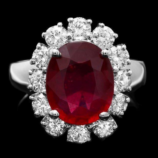 14k White Gold 4.30ct Ruby 1.40ct Diamond Ring