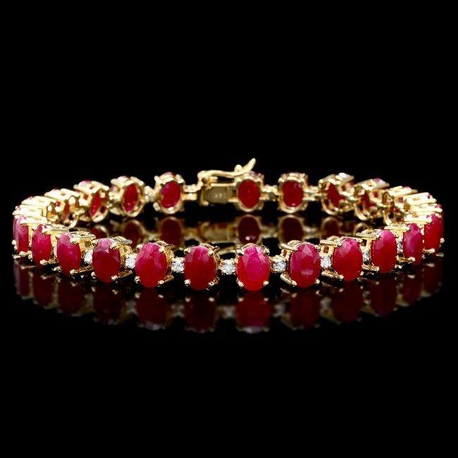 14k Gold 26.00ct Ruby 1.00ct Diamond Bracelet