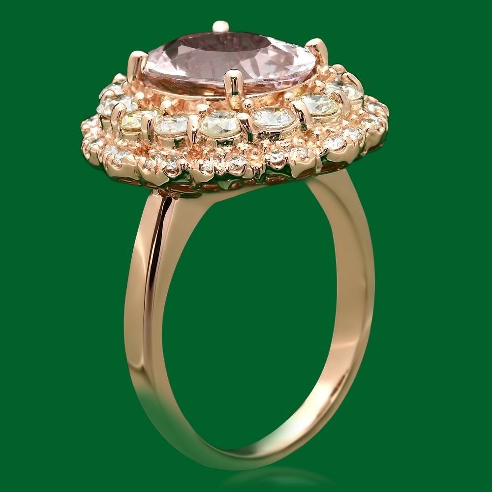 14k Gold 3.07ct Morganite 1.60ct Diamond Ring - 2