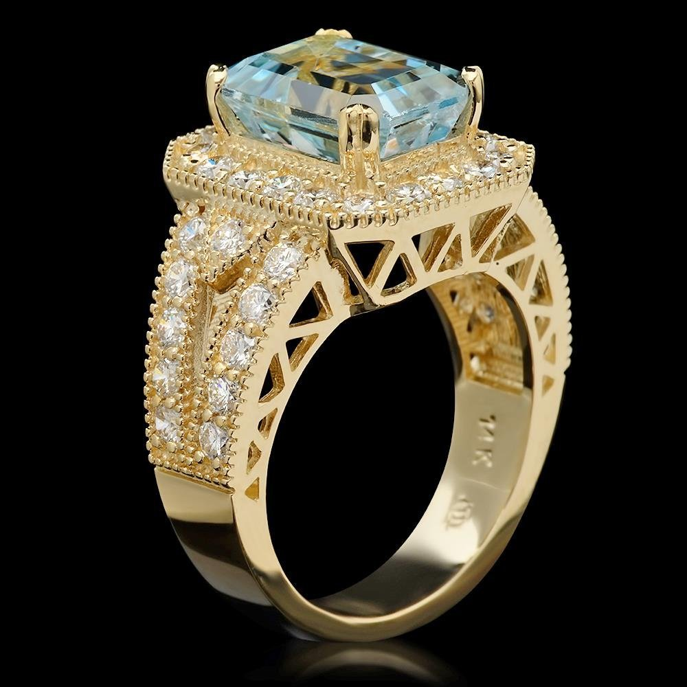 14K Gold 3.85ct Aquamarine & 1.46ct Diamond Ring - 2