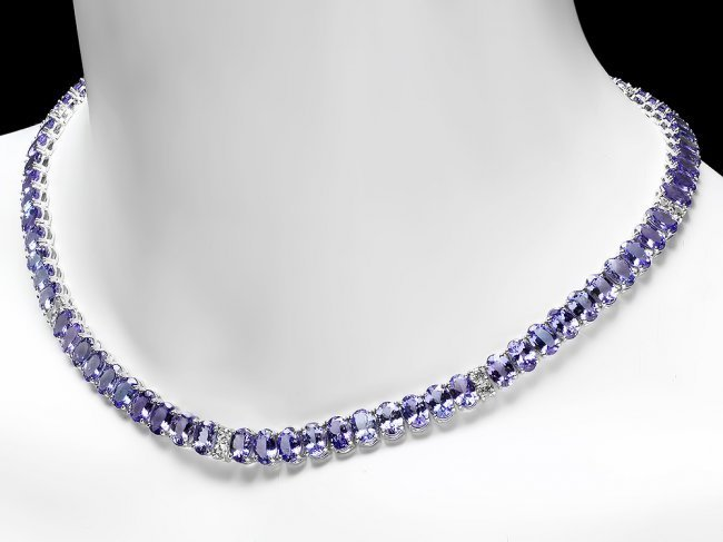 14k 54.00ct Tanzanite 2.00ct Diamond Necklace - 2