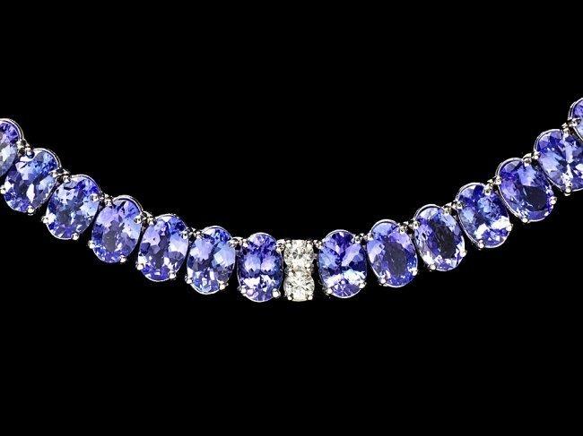 14k 54.00ct Tanzanite 2.00ct Diamond Necklace - 3