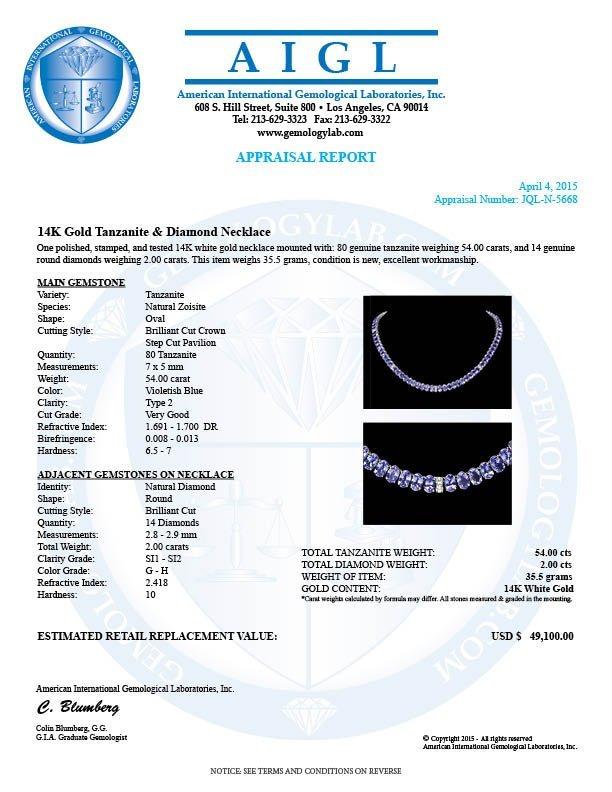 14k 54.00ct Tanzanite 2.00ct Diamond Necklace - 6