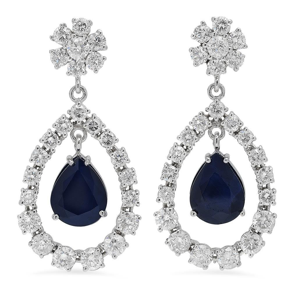 14K Gold  10.37ct Sapphire 7.08ct Diamond Earrings