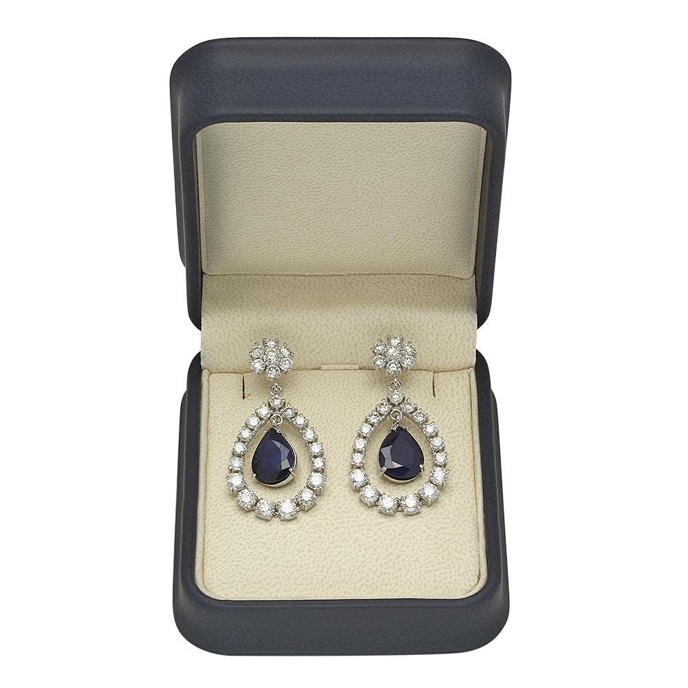 14K Gold  10.37ct Sapphire 7.08ct Diamond Earrings - 2