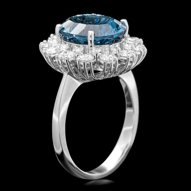 14k White Gold 5.70ct Topaz 0.80ct Diamond Ring - 3